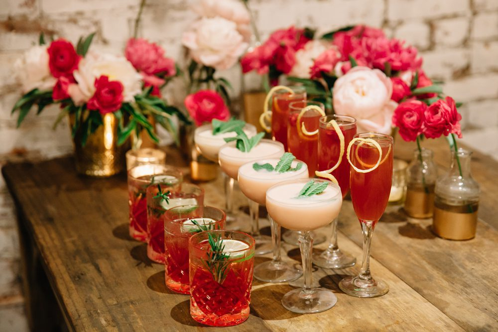 Rows of drinks ready for a wedding party
